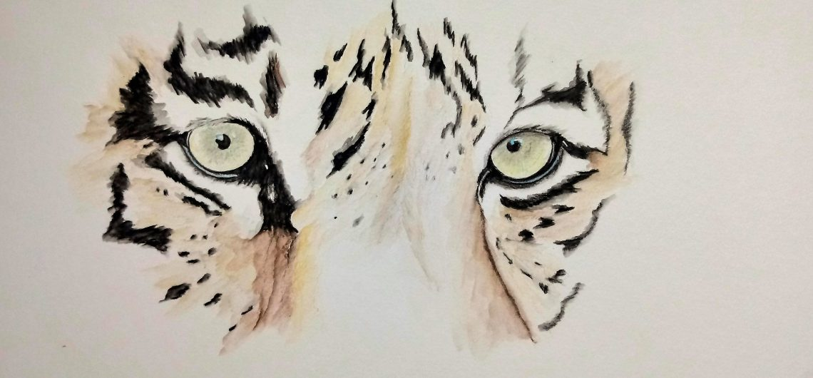 Aquarellbild Tiger